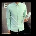 Algodón Spandex Hombres Oxford Camisas de Manga Larga Hombre Camisa de Color Sólido Ocasional Masculina Ropa Camisa Masculina Camisas de La Manera Hombres 2017