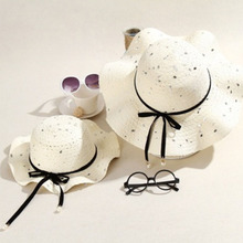 Summer Parent-child Wavy Straw Caps Women girl Sun Hat Beach Cap visors summer hats  women hat