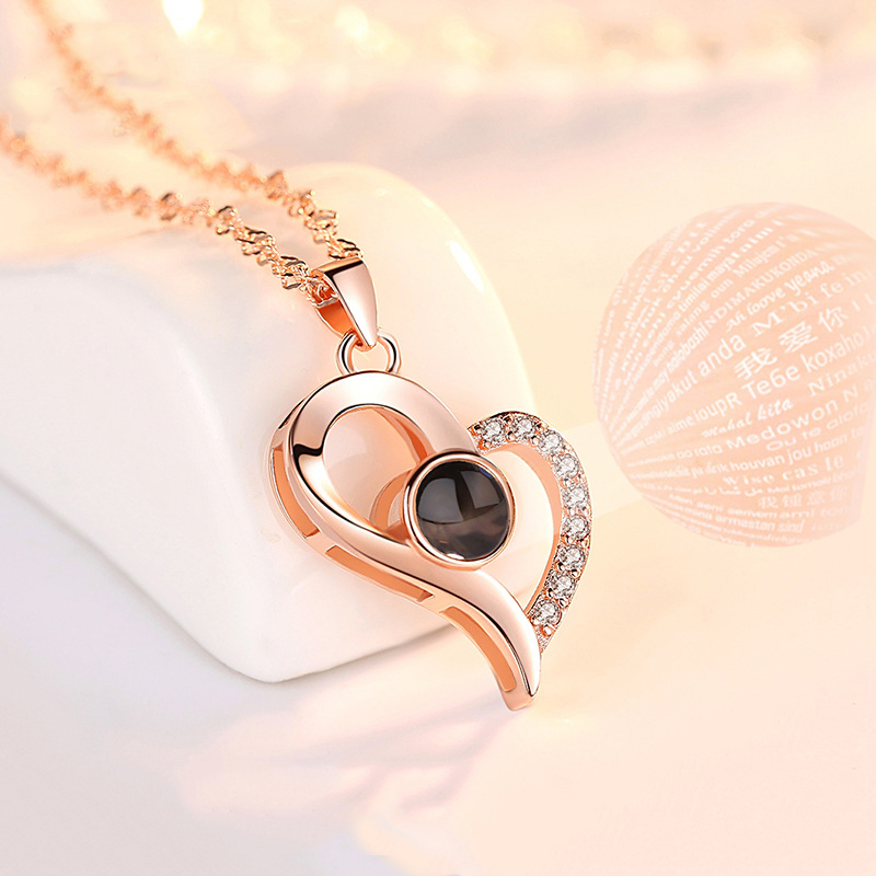 9a1428bee4 2019 Projection Romantic Necklace I Love You 100 Languages Couple 925  Silver Necklace Letter Initial Necklaces For Women