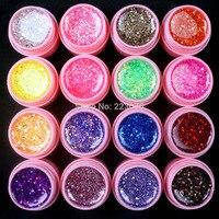 DIY 16 Stks Mix Kleur Glitter Hexagon Sheet Nail Art UV Builder Gel voor Tips wit pot Set