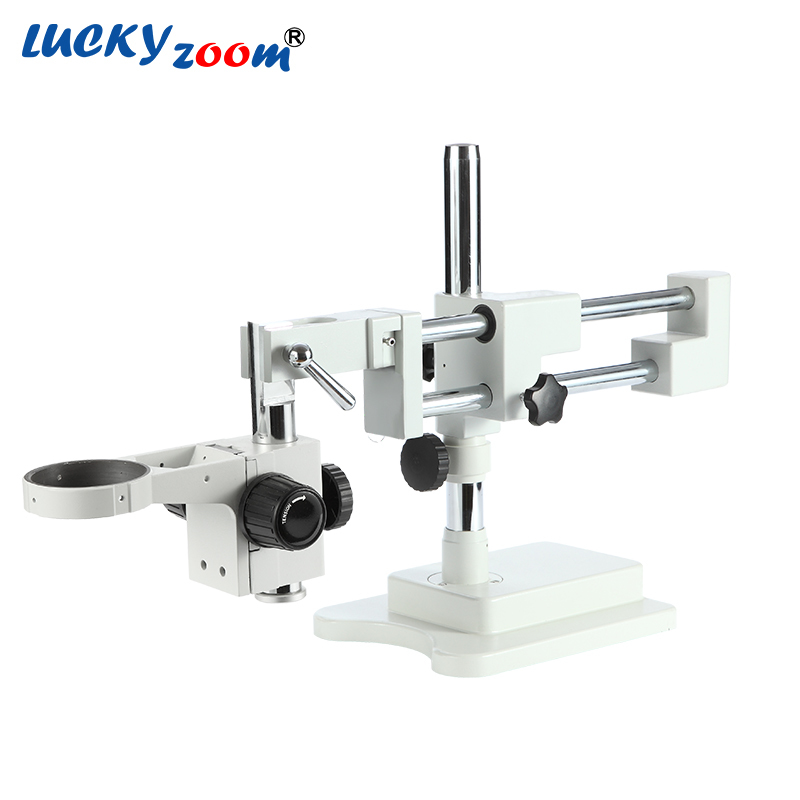 Luckyzoom Flexible fuerte Trinocular de doble brazo Base estéreo Microscopio etapa A1 Microscopio accesorios envío gratuito