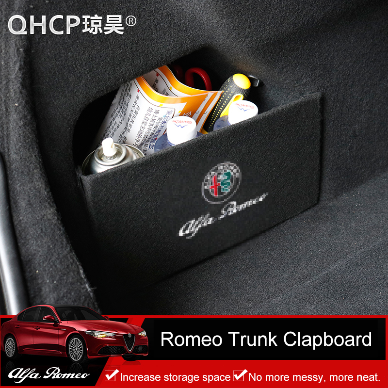 QHCP 1Pcs Flocking Surface Car Rear Trunk Storage Side Baffle Storage Clapboard Stowing Tidying Special For Alfa Romeo Giulia