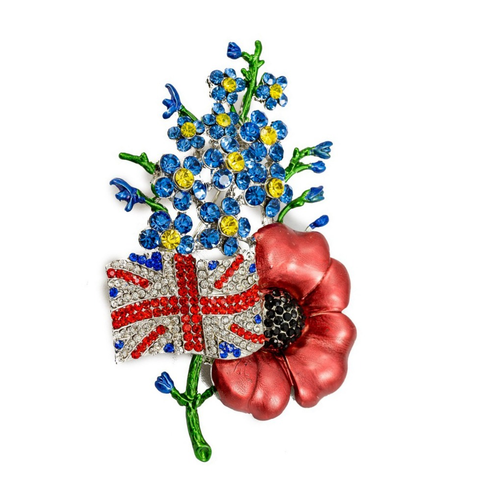 Uk Jack Union Flag Red Poppy Brooch With Forget Me Not Flower Large