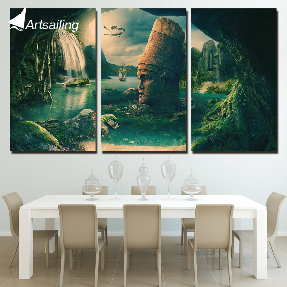 3 Panels Canvas Art Fantastic Rock Land Home Decoration Wall Art Painting Canvas Prints Pictures for Living Room Poster XA-1045B ...