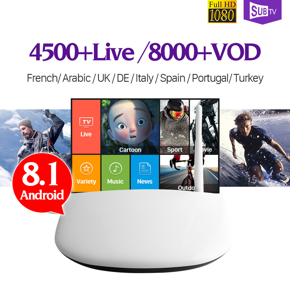 IPTV France Android 8.1 Smart TV Box 1 Year Subtv Code Full HD IPTV France Turkish Arabic Italia Spain Portugal IP TV Top Box wechip v7 android tv box 7 1 5000 live iptv nordic arabic france europe netherland portugal usa brazil asia smart tv iptv box
