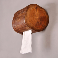 Retro wooden paper holder household bathroom wall hanging toilet roll paper storage rack tissue box home decoration mx3051512