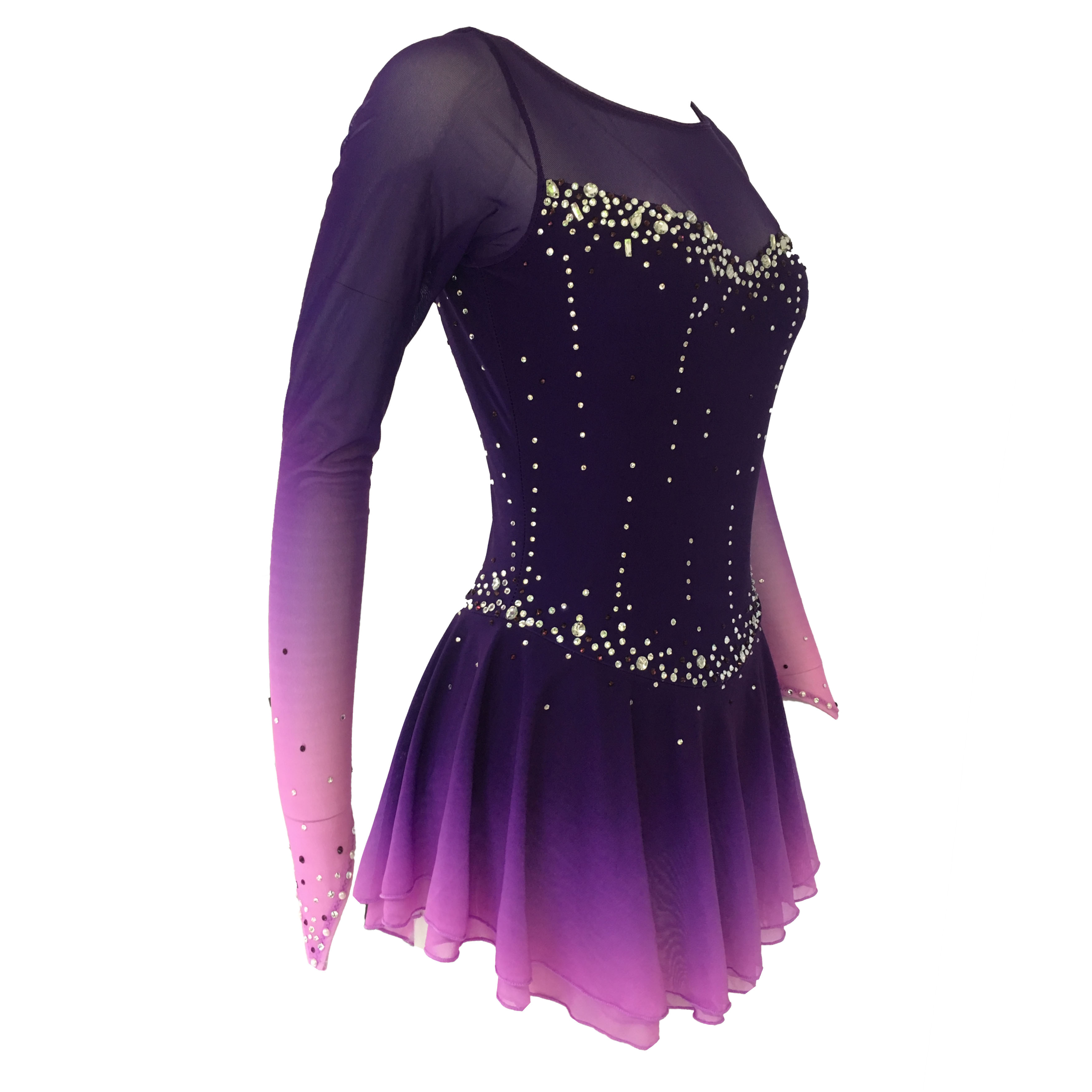 Skirt Figure-Skating-Dress Spandex Purple Long-Sleeved title=