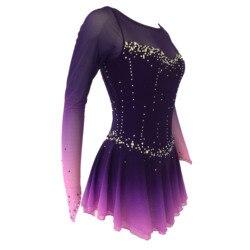 Purple Figure Skating Dress Fingerpoint Sleeves Ice Skating Skirt Long-Sleeved Spandex Skirt Competition Dresses