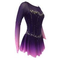 Purple Figure Skating Dress Fingerpoint Sleeves Ice Skating Skirt Long Sleeved Spandex Skirt Competition Dresses