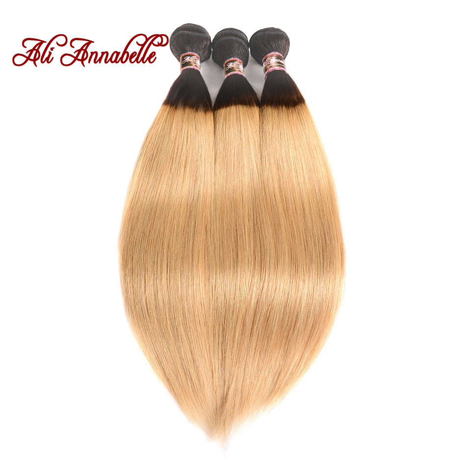 ALI ANNABELLE Ombre Hair Brazilian Straight Human Hair Bundles Two Tone 1B 27 Ombre Human Hair