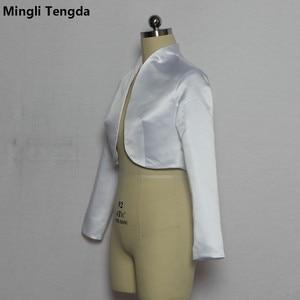 Image 4 - Mingli Tengda כתם ארוך שרוול חתונה בולרו כלה מעיל אדום/שחור מעיל כלה מעיל כורכת נשים שכמיות בולרו Casamento