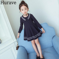 Hurave 2017 fashion sweet girl clothes Autumn new Navy style long-sleeved cotton girl dress
