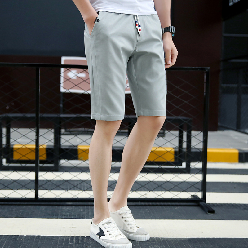 2018 Men Casual Shorts Men Cotton Solid Shorts Summer Beach Shorts New Fashion Shorts Solid Color Green Khaki Blue Black Gray