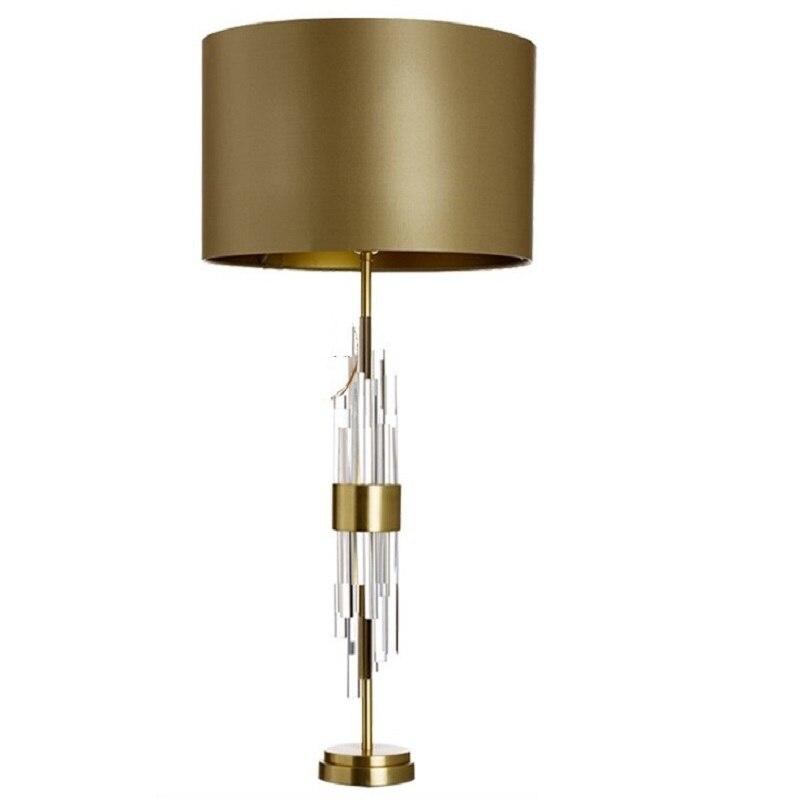 LukLoy Postmodern cristal LED lampe de Table chevet en métal lumière créative luxe décoratif Table lumière pour salon chambre