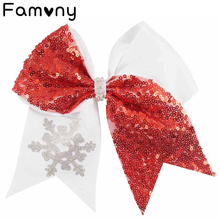 7 Glitter Hair Bow Snowflake Sequins Cheer With Boitique Clips For Girls Women Accessories Christmas Gift