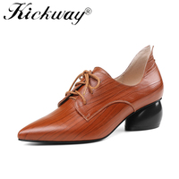 Kickway Women Shoes Fashion Hollow Med Heels Genuine Leather Pumps Lace Up ladies Shoes black Tan chaussures femme Size 34 43