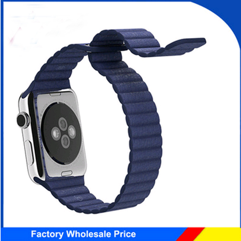100% Genuine link bracelet For Apple Watch Leather Loop 38mm 42mm Adjustable Magnetic Closure strap For Apple iwatch band 42mm