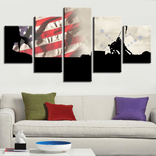 Attrayant Modern Home Decor Living Room Wall 5 Pieces American Flag Landscape  Paintings HD Prints Poster Modular