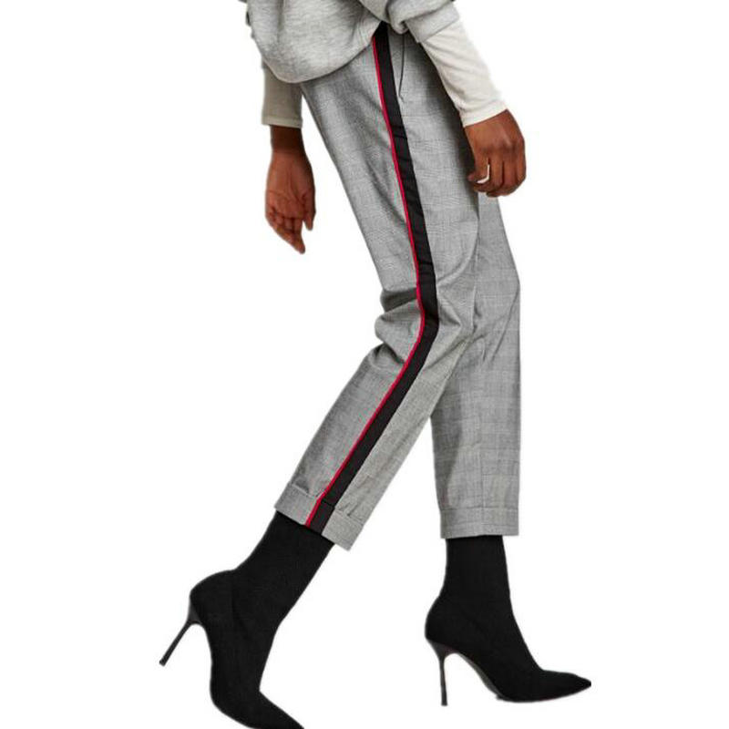 Women Fashion Slacks Leisure Revers 2018 Vintage Stitching Trousers Side Stripe Spliced Plaid Panties Juniors Skinny