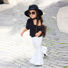 Off Shoulder Top Girls Clothing White Bell Bottom Pants 3pcs/Set Tops+Neckerchief+Pants Clothing Set Baby Girl Summer Clothes