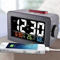 Подарок Идея прикроватный будильник с термометром гигрометр Температура влажности настольные часы телефон зарядное устройство. метеостан...