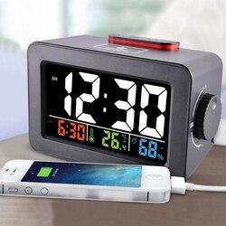 Подарок Идея прикроватный проснуться цифровой будильник с термометром гигрометр Температура стол часы телефон зарядное устройство