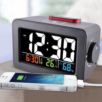 Regalo Idea despertador Digital con termómetro higrómetro humedad temperatura reloj de mesa escritorio cargador de teléfono