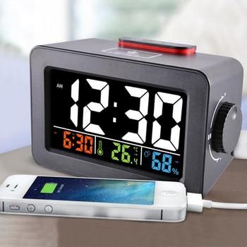 Regalo Idea mesilla de noche despertador Digital con termómetro higrómetro humedad temperatura reloj de mesa escritorio cargador de teléfono