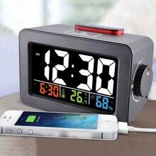 Reloj despertador Digital con termómetro, higrómetro, humedad, reloj de mesa escritorio, cargador de teléfono