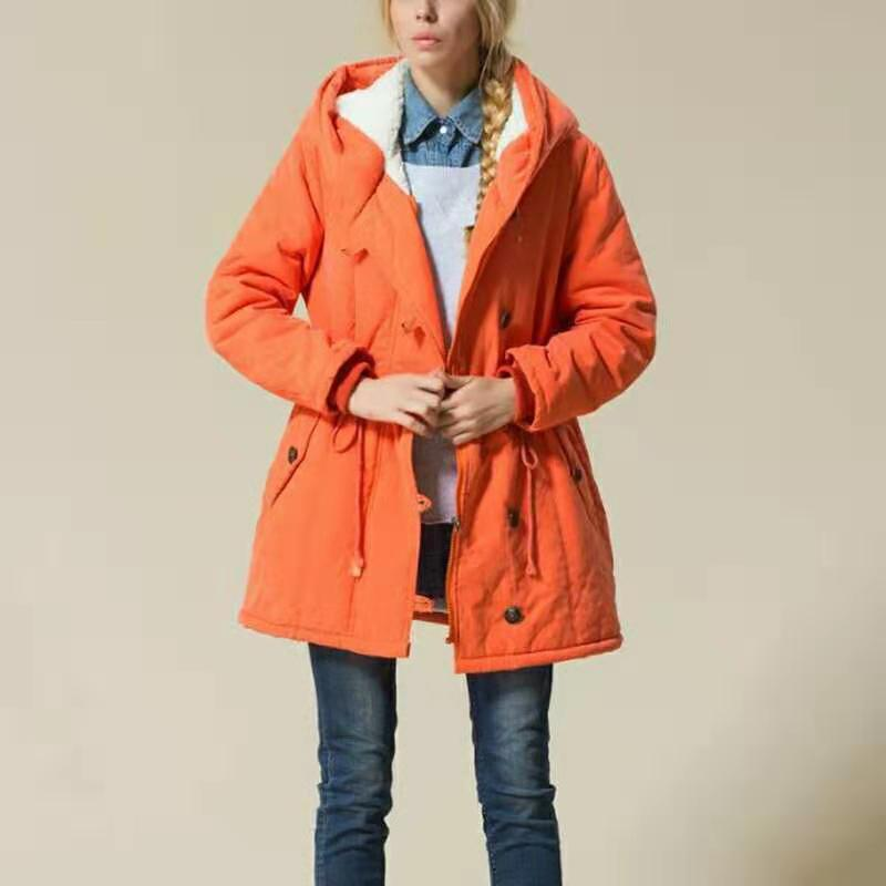 2018 Women   Parkas   Winter Female Warm Thicken Middle-Long Slim Hooded jackets coat Outwear   Parkas   coat