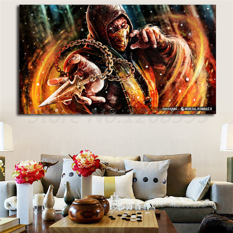 Wall Decor Framed Poster Scorpion Mortal Kombat 11 Painting Art Print