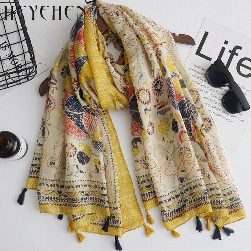 Gaya etnik Bunga Besar Ukuran 100 190 cm Kuning Katun Polyester Musim Gugur Bandana  Scarf 3dc36a3b32