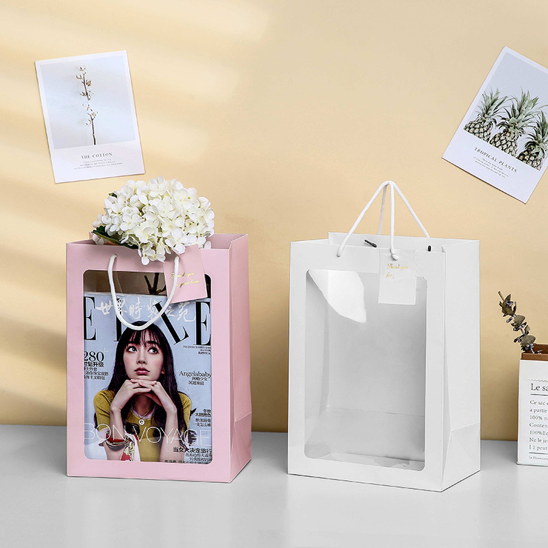 Visiable Paper Gift Bag With Clear Window For Gift Toy Cloth Accessories Packing Ins Creative Bags