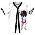 Nueva Moda de Verano Camiseta de Los Hombres de Manga Corta Con Cuello En V Camiseta Homme Solo Pecho Cardigan Camiseta de Béisbol Doble-cara Impresa