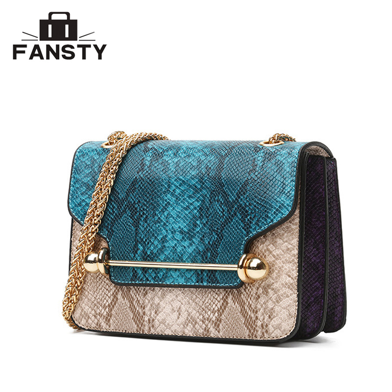 High Quality Snake Women Messenger Bag Designer Fashion PU Leather Lady Crossbody Bag Serpentine Chain Female Flap Shoulder Bag yuanyu 2018 new hot free shipping real python skin snake skin color women handbag elegant color serpentine fashion leather bag