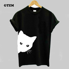 GTZM Cat Looking Out Side Printing Plus Size Women Tshirt Cotton Casual Funny T Shirt For Womens Summer Clothing Slim T-shirt