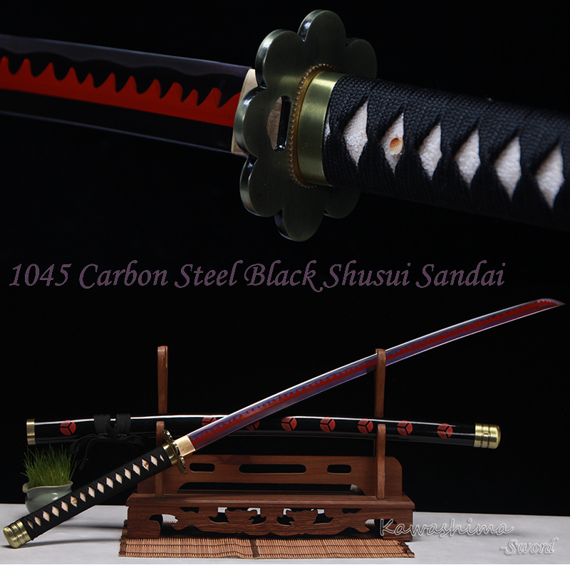 The Latest One Piece Zoro Sword Shusui Sandai High Carbon Steel Purple Red Blade Real Katana Handmade Full Tang Sharp Supply