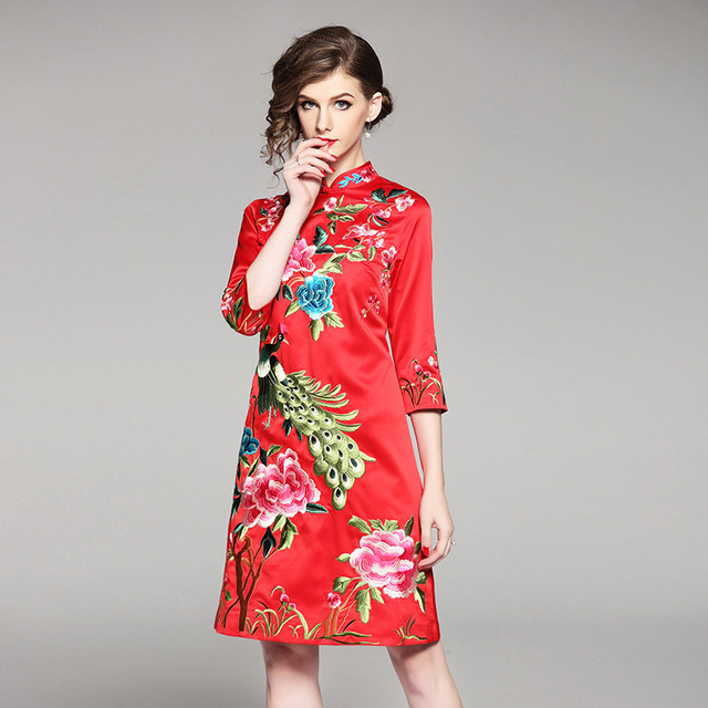 7ed0000f8 2018 High Quality Spring Chinese Style Vintage Embroidery Cheongsam Dress  Woman Elegant Mandarin Collar 3/4 Sleeve A Line Dress