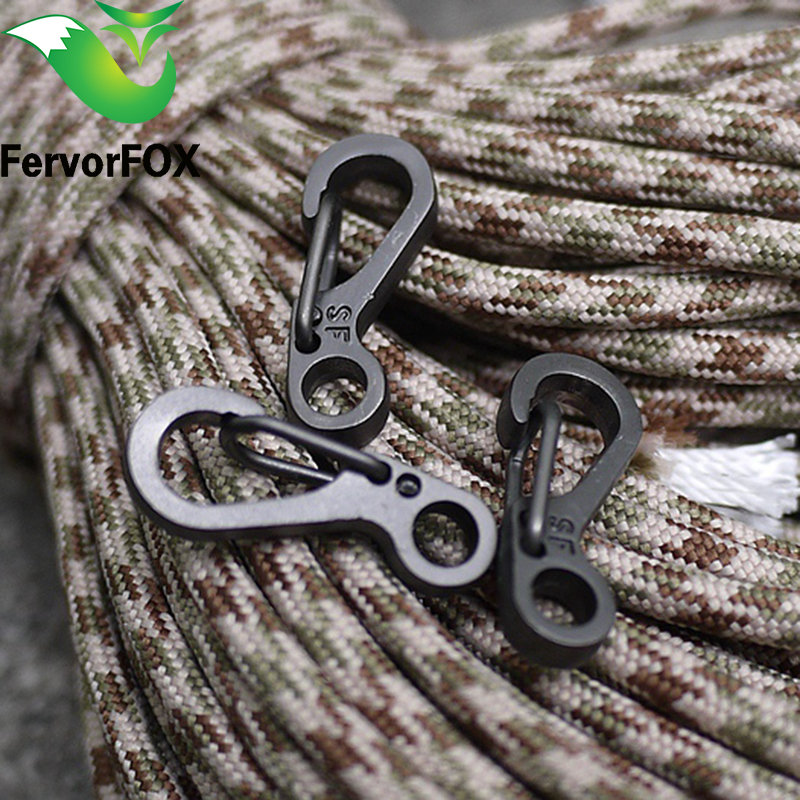 10PCS / LOT Mini SF Spring Rygsæk Clasps Klatring Carabiners EDC Nøglering Camping Flaske Kroge Paracord Tactical Survival Gear