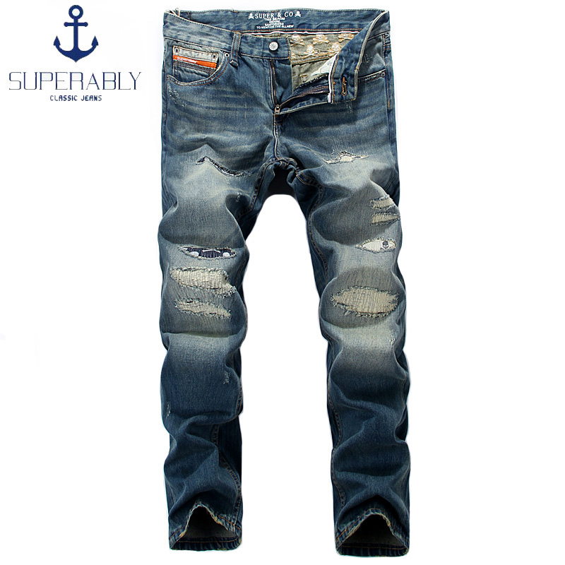 Superably Fashion Mens Jeans Blue Color Denim Skulls Embroidery Patchwork Ripped Jeans Men Pants Brand Retro Vintage Biker Jeans