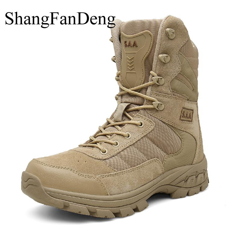 High Quality Men Boots Desert Tactical Military Boots Special Force Ankle Boots Lace Up High Top Plus Size 47 Winter Men Shoes