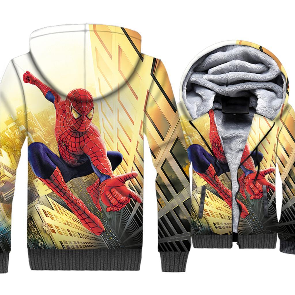 2019 Autumn Winter Spiderman 3D Hoodies Men Thick Warm Fleece Jackets Super Hero Men's Sweatshirts Short Style Coat For Fans