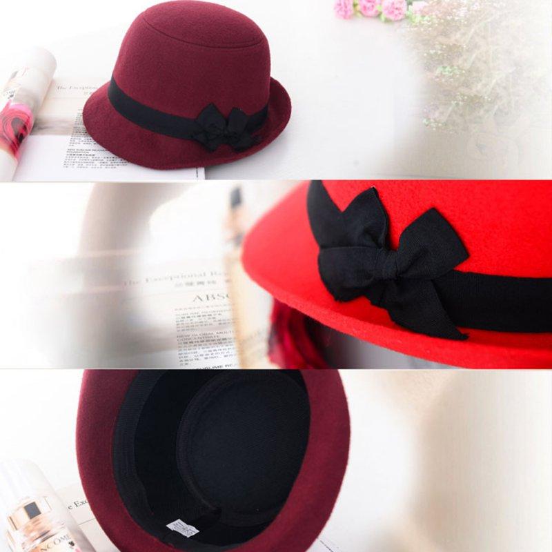 Hermosa mujer chica retro bowknot playa Fieltro lana sombreros Fedora  Bowler Derby sombreros bonito 1b6c1be620a