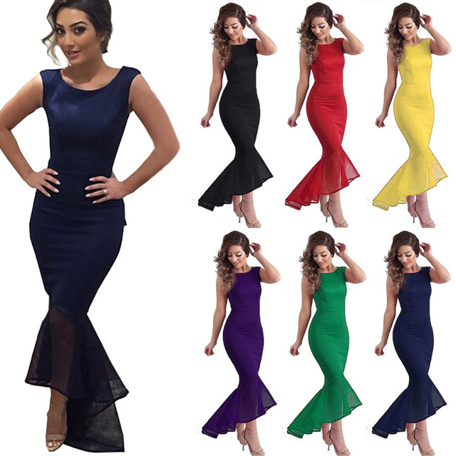 e35e2188338 Sexy Women Evening Party Ball Prom Gown Formal Cocktail Wedding Maxi Long  Fish Tail Mermaid Dress Sleeveless 6 colors