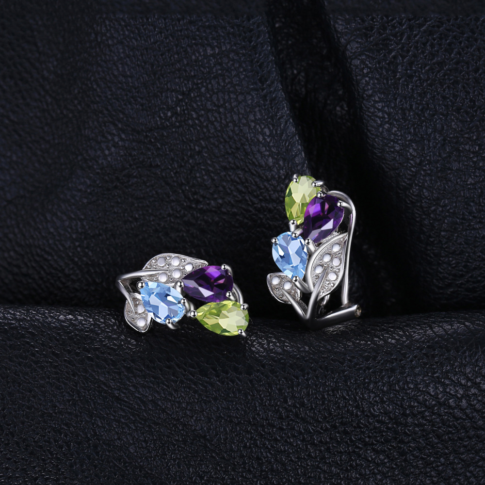 JewelryPalace Multicolor 2.5ct Genuine Amethyst Peridot Blue Topaz Clip On Earrings 925 Sterling Silver AqQmQXpN