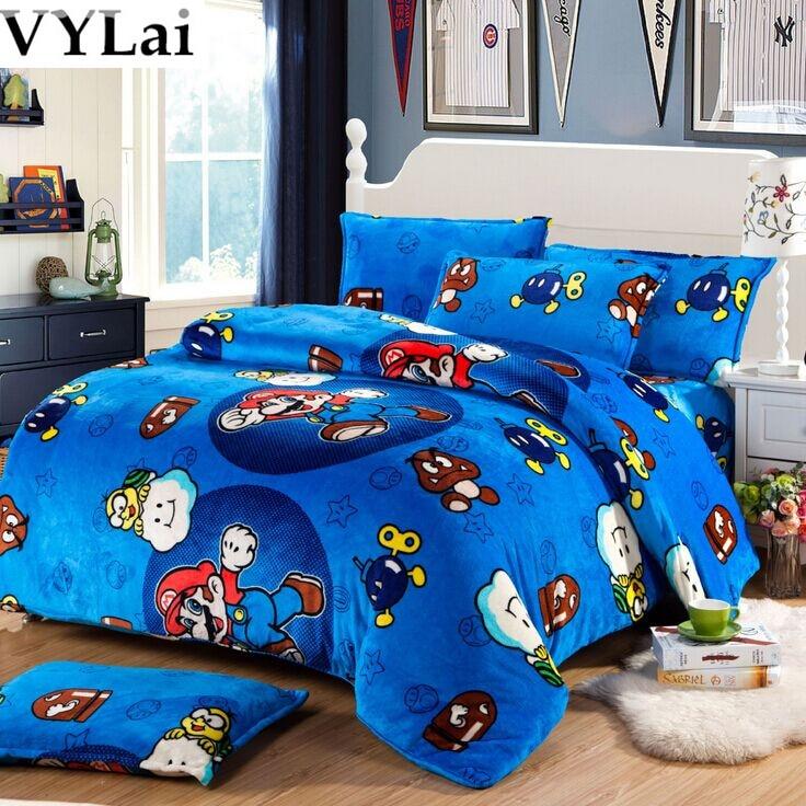 Super Mario Kids Fannel Bedding Set Single Twin Full Duvet
