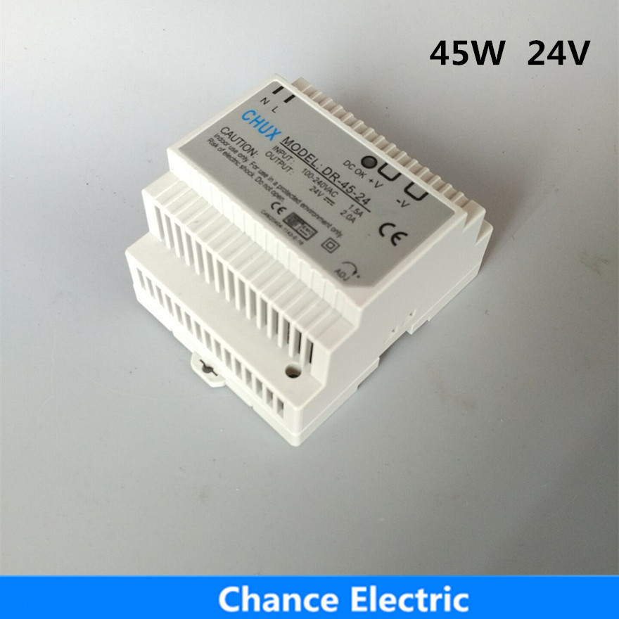 DR-45-24 LED Din Rail mounted switching Power Supply Transformer 110V 220V AC to DC 24V 2A 45W Output Free Shipping low price switching power supply led din rail mounted power supply transformer 110v 220v ac to dc 5v 12v 15v 24v 48v 45w output