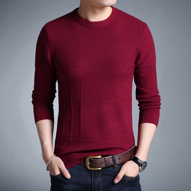 Menswear Winter 2018 Cardigans Of Large Sizes Patchwork O-neck Pullover Sweater Men