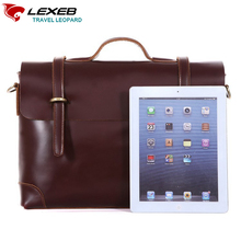 LEXEB Lawyer Briefcase Full Grain Cow Leather Men's Laptop Bags 15 Inches High Quality Office Bag For Men Solid Wine