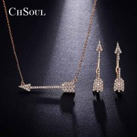 CHSOUL Jewelry Sets Arrow Necklace Pendant And Stud Earrings For Women 18K Rose Gold Plated Jewellery
